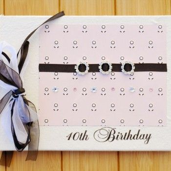 Pink and Black Embrace 40th Birthday Guest Book
