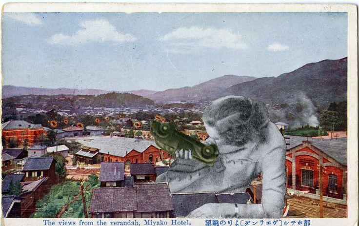 Untitled, Unique Photo Collage Mounted on Postcard by Artist, Jan Dziaczkowski