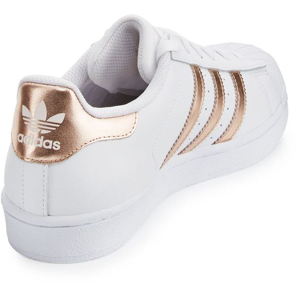 Adidas Superstar Original Fashion Sneaker ($80) ❤ liked on Polyvore featuring shoes, sneakers, leather shoes, leather lace up flats, leather flats, adidas shoes and lace up flat shoes