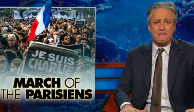 Jon Stewart launched a blistering attack on President Obama and his administration over their absence from the rally in Paris that was held in wake of the