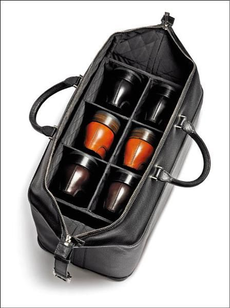 Bally Shoe Carrier... really neat, but it ONLY carries 3 pairs. One obviously needs at least 7 pairs of shoes for an overnight trip.