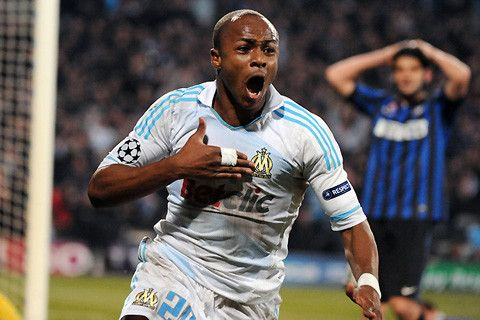 André Ayew (Olympique de Marseille) after his winning goal against Inter Milan