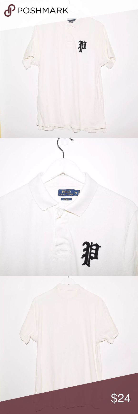 Rare Polo Ralph Lauren Custom Fit Big P Polo Shirt Brand: Polo Ralph Lauren Item name: Custom Fit Big PCotton Polo Shirt   Color: White Condition: This is a pre-owned item. This item is in excellent used condition with no stains, rips, holes, etc. Comes from a smoke free home. Size: XL Measurements: Pit to Pit - 23 inches Shoulder to base - Front: 27 inches Back: 29 inches Polo by Ralph Lauren Shirts Polos