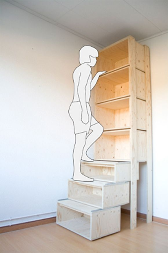 Pull-out bottom shelves make stairs to reach top shelves! Need someone to make me this...