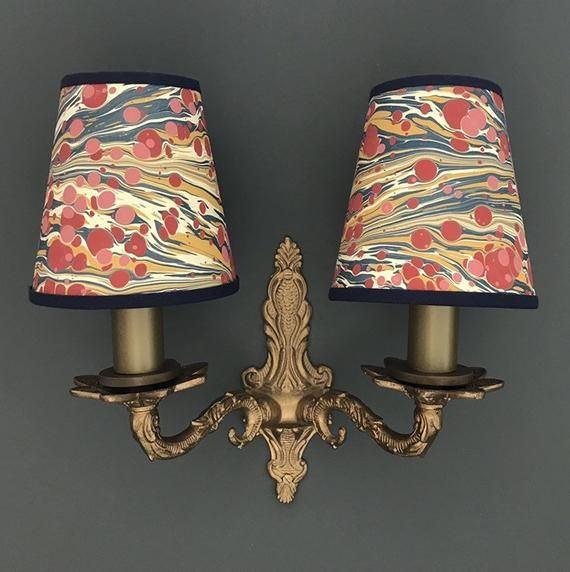 Hand Marbled Fantasy Zebra Small Candle Clip Lampshade Wall Chandelier Lamp Shades Small Candles House Lamp