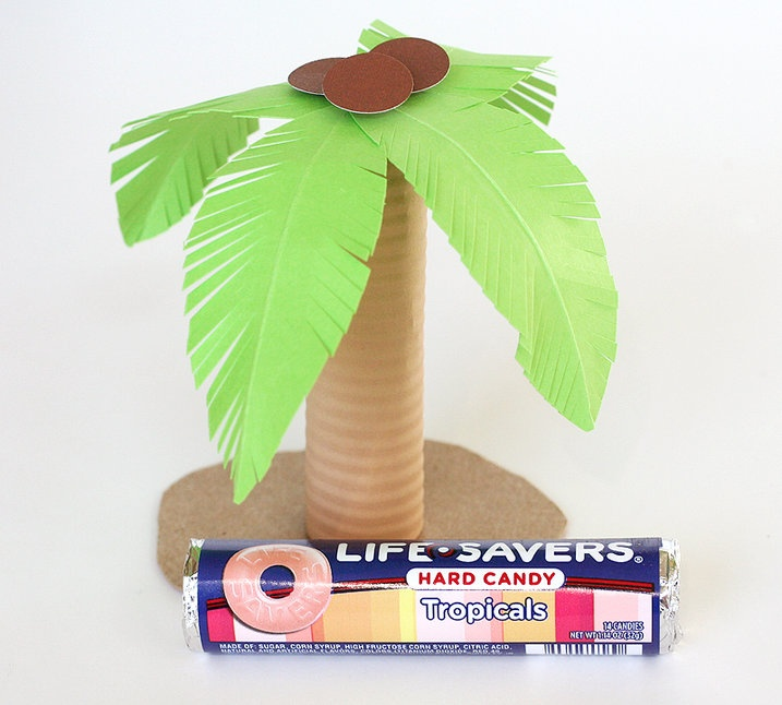 Luau party favor: tropical Life Savers wrapped like a palm tree