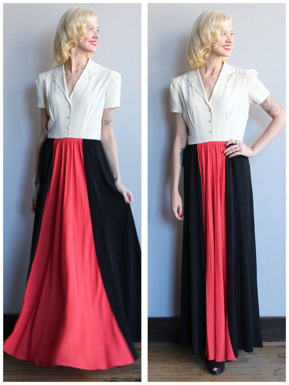 1940s gown / / Colorblock crêpe jurk / / door dethrosevintage
