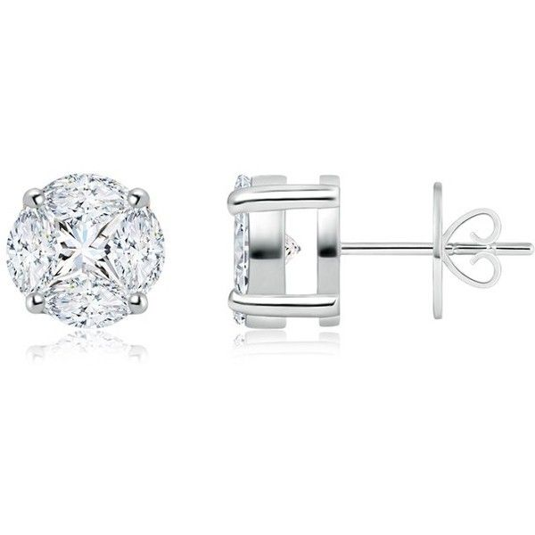 One Carat Solitaire Look Illusion Set Diamond Basket Stud Earrings (€2.045) ❤ liked on Polyvore featuring jewelry, earrings, gold stud earrings, studded jewelry, handcrafted jewelry, handcrafted earrings and gold stud earring sets