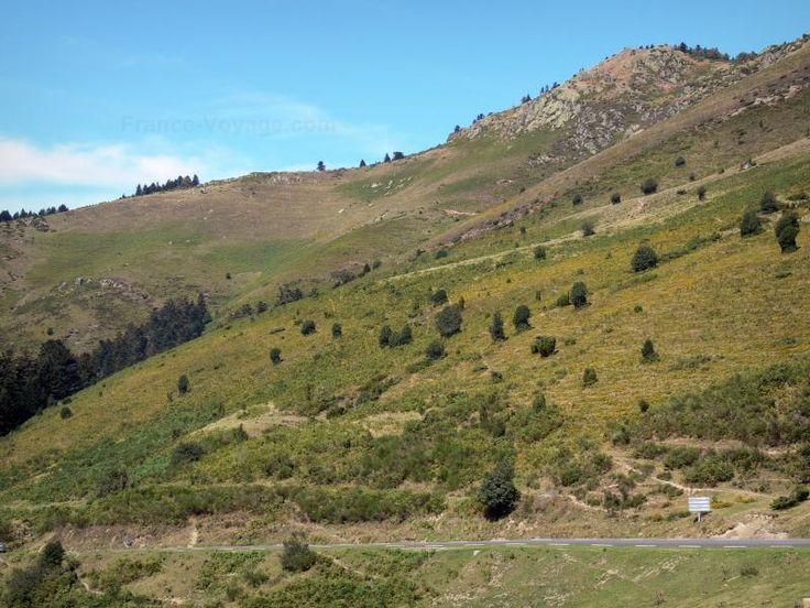 Col d'Aspin: Route menant au col d'Aspin dominée par une montagne…