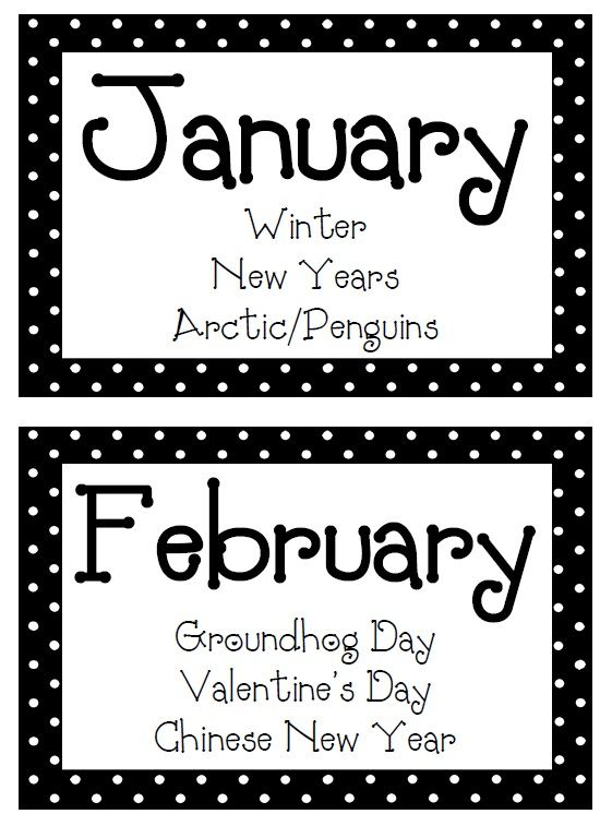 Classroom Freebies: Monthly Labels, put these on the book bins I sorted by theme for my read alouds