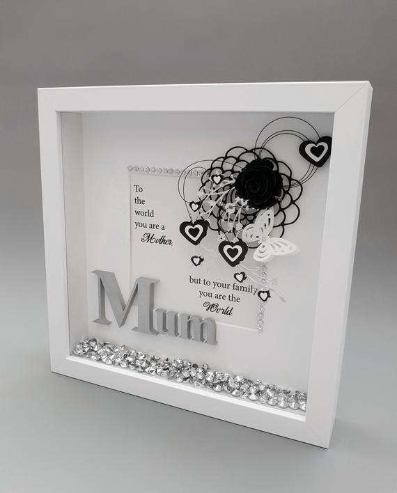 Birthday Gift For Mum Keepsake Box Handmade Deep Box Frame Hearts Butterflies And Crystals Christmas Gift In 2020 Mum Birthday Gift Box Frames Deep Box Frames