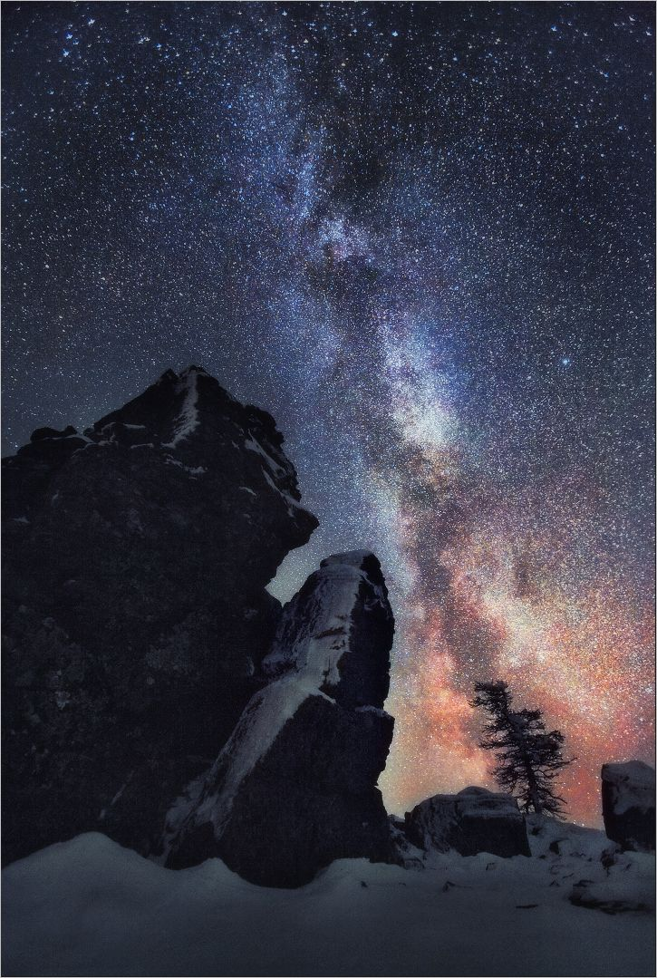 Milky way over Northern Ural Mountains, Russia