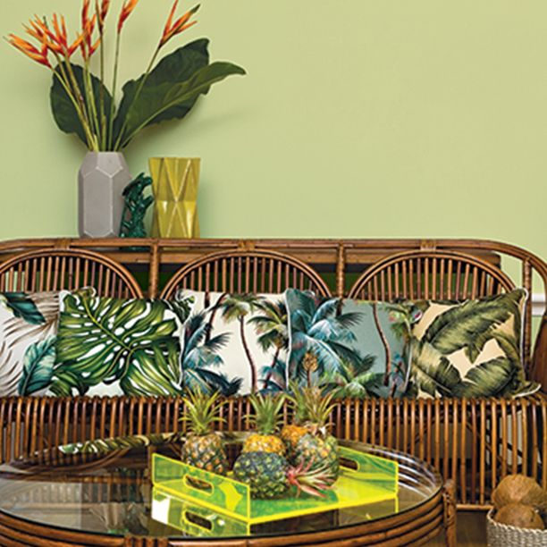 Get the resort holiday vibe all year round by mixing lush greens with neon yellow