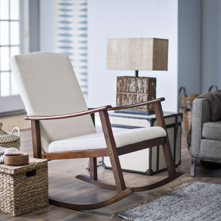 Belham Living Holden Modern Rocking Chair - Upholstered - Ivory - Indoor Rocking Chairs at Hayneedle