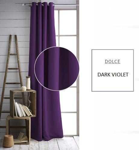 Tmavo fialové závesy do spálne
