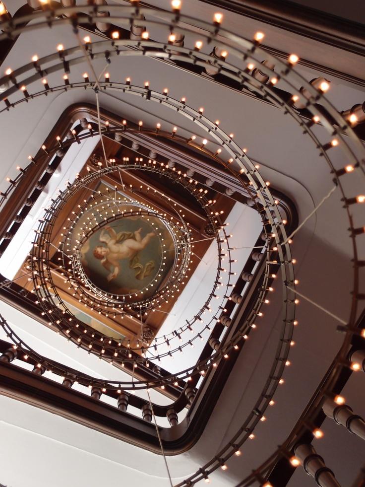 Lights in stairway to Tassenmuseum Hendrikje Handbag Museum of Amsterdam