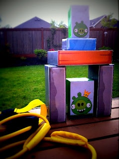 The Contemplative Creative: Project : Angry Birds water balloon Slingshot Game from cardboard boxes with free printables. She put marbles inside the boxes for weight and a great crashing sound.
