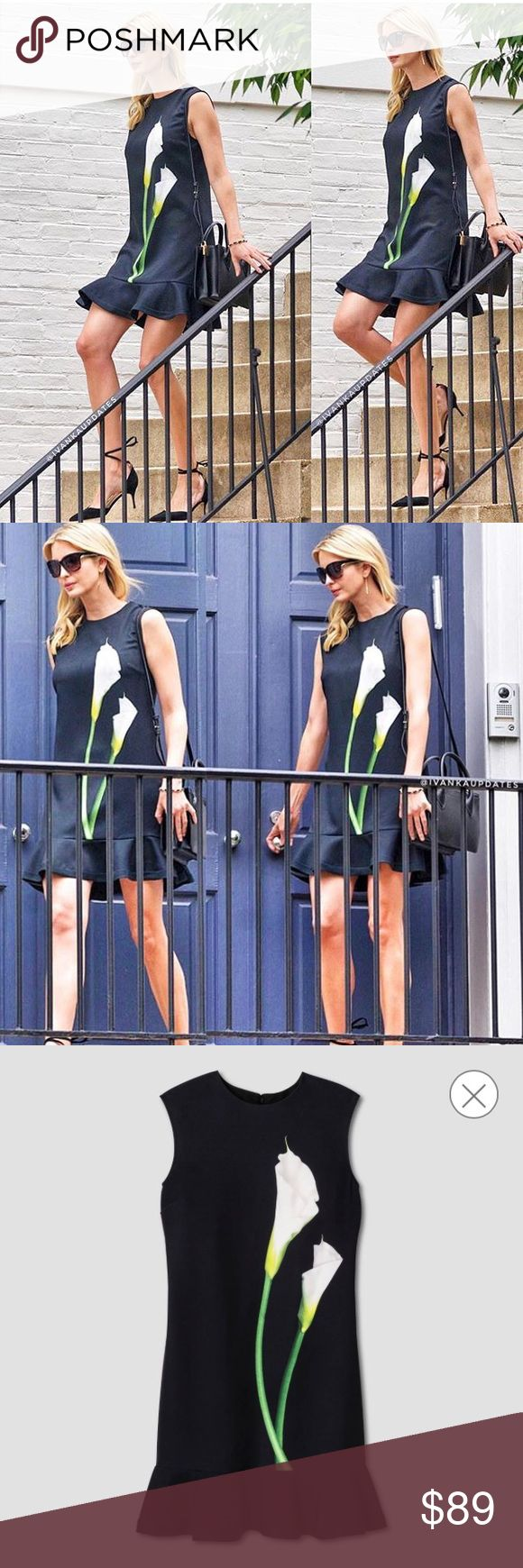 Victoria Beckham Dress Worn by Ivanka Trump On Monday, 6/5/17, the first daughter was spotted leaving her home wearing this dress, which is part of Victoria Beckham's Target line.  RARE & SOLD OUT at stores.  NWT - NEVER WORN. A chic option for work or the weekend, this Women's Black Calla Lily Satin Ruffle Hem Dress by Victoria Beckham for Target is the perfect combination of classic and fashion-forward styles.  Material: 94% Polyester, 6% Spandex, Closure Style: Pullover, Back full length…