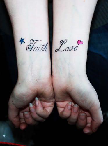 love and faith wrist tattoos