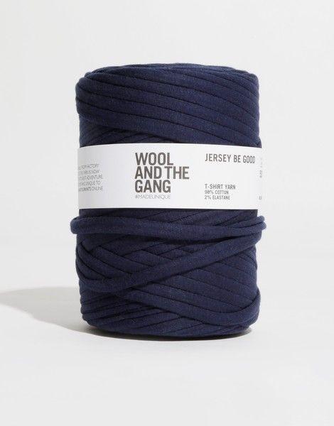 Jbg in the Navy. Super chunky t-shirt yarn. 8-12m hook.