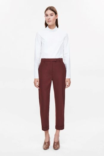 COS image 1 of Straight-leg wool trousers in Crimson
