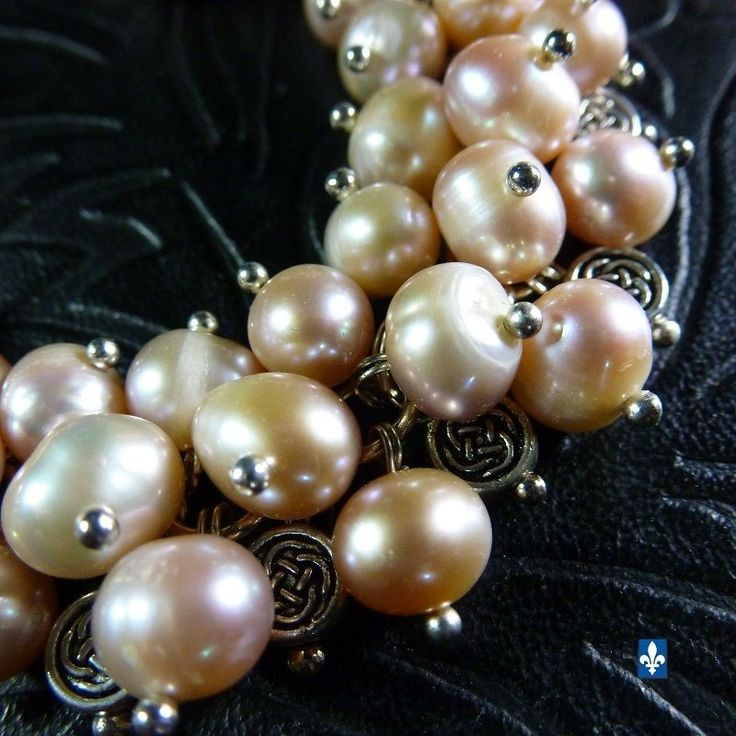 ♥ Genuine Natural Pinkish Ivory Pearls  Plated Silver Celtic Beads Bracelet