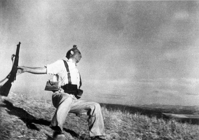 "Photographer Robert Capa claimed this image, known as ""The Falling Soldier,"" was taken during the Spanish Civil War and captures a Republican militiaman at the moment of death, Cerro Muriano, September 5th, 1936. The image is controversial and in the years following the war many experts have claimed the image was staged.  Photo credit: Robert Capa / Magnum Photos — in Córdoba, Spain."