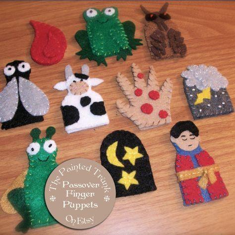10 Plagues Finger Puppets for Passover Set of Children's Felt Puppets Biblical Bible Story Puppets