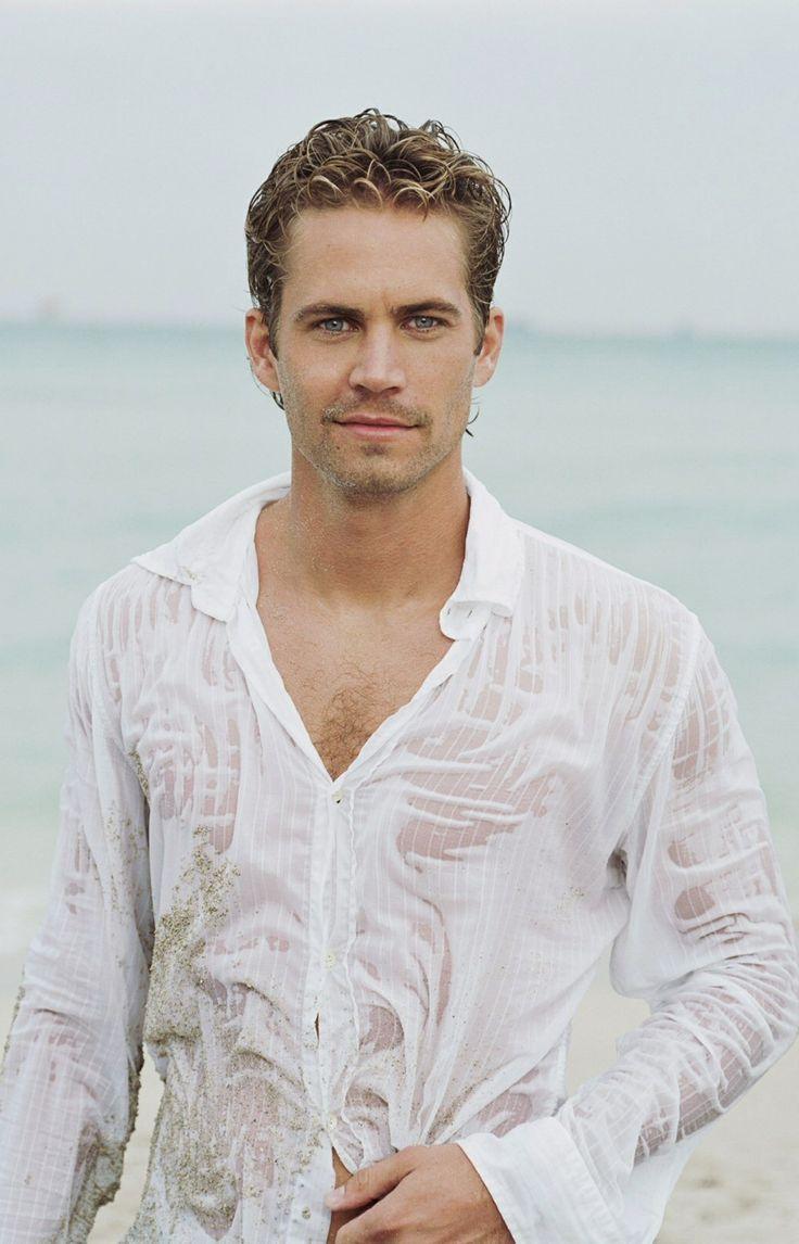 Paul Walker walking on beach in wet white shirt
