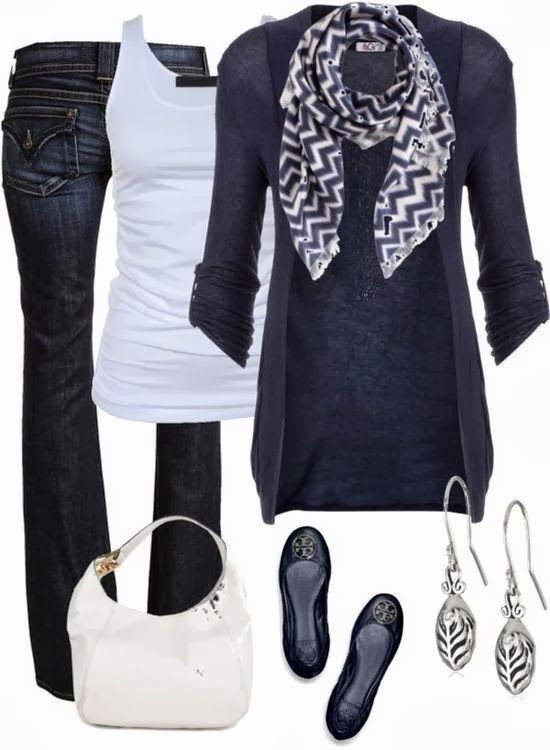 Adorable Outfit - Jeans, Blouse, Sweater, Scarf, Tory Burch Shoes, Handbag