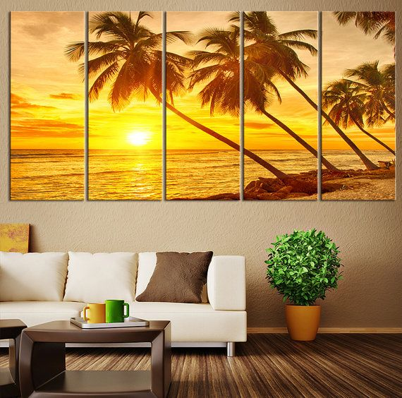Beach Wall Decor- Beach and Sunset on Ocean Wall Art Canvas Print, Seascape Canvas Print, Sunset and Ocean Beach Canvas Print