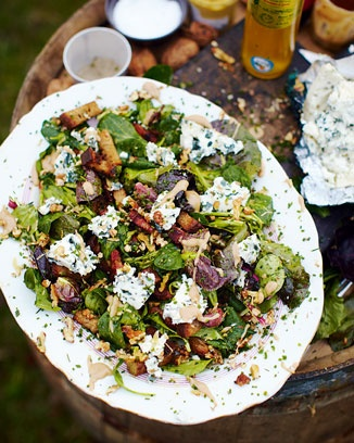 Warm salad with two of my favourite things... cheese and bacon. Roquefort salad with warm croutons by Jamie.