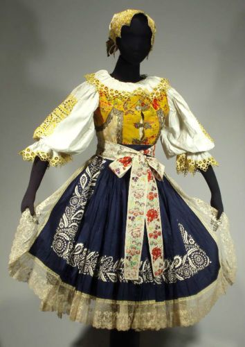 Antique Slovak Folk Costume Embroidered Blouse Skirt Apron Bonnet Bobbin Lace | eBay