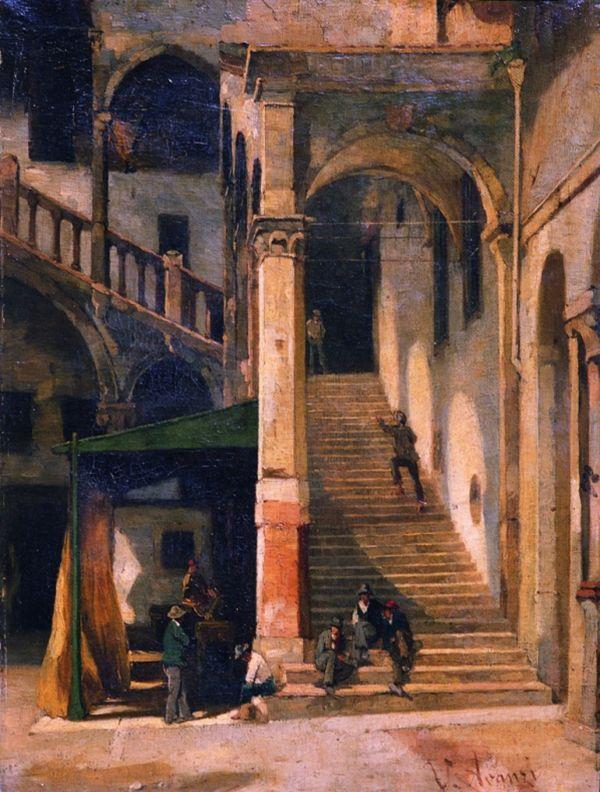 Vittorio Avanzi, Scala del cortile del Mercato Vecchio, 1875 – 1899, olio su tela, cm 59,5 x 34, Galleria d'Arte Moderna Achille Forti