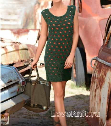 Спицами фактурное платье с крупными отверстиями фото к описанию