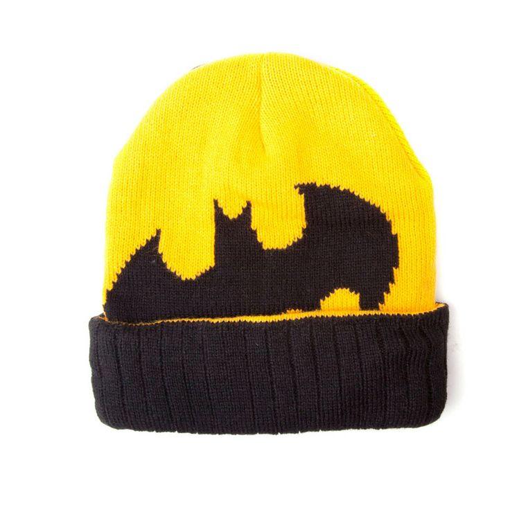 Gorro tipo Beanie Batman logo. Modelo 4 Estupendo gorro tipo Beanie (cubren toda la cabeza y también las orejas para mantenerlas tibias) de un intenso color amarillo muy chulo suave al tacto y sobretodo bien calentito con el logo del hombre murciélago de la película Batman.