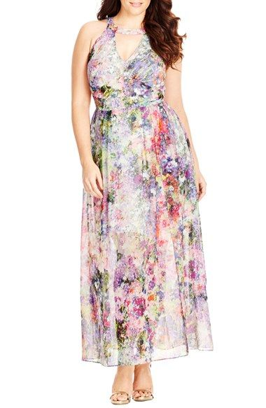 City Chic 'Floral Burst' Maxi Dress (Plus Size) available at #Nordstrom