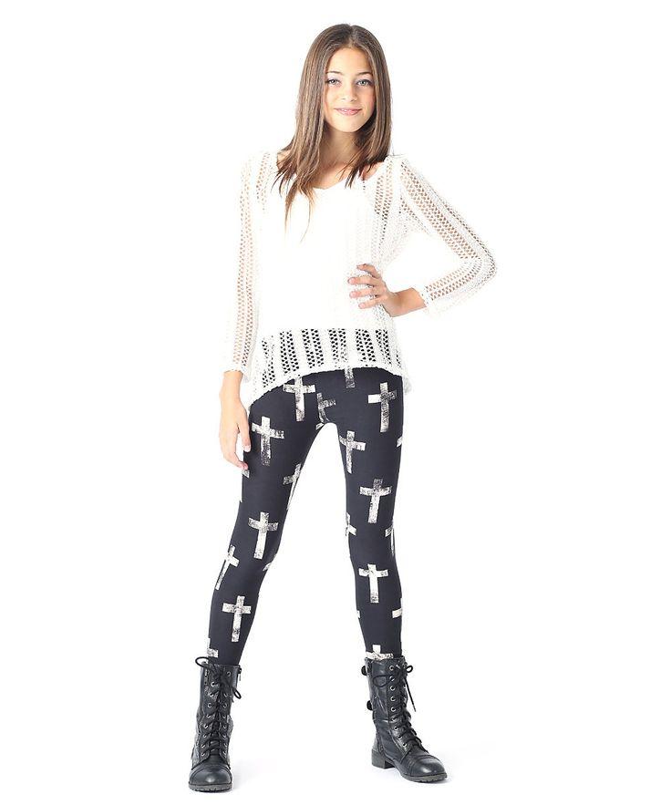 Tween Girl Fashion Black: Rated G Black & Ivory Cross Leggings