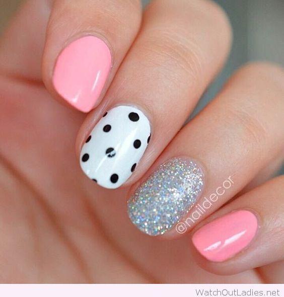 Pink nails,polka dots and glitter