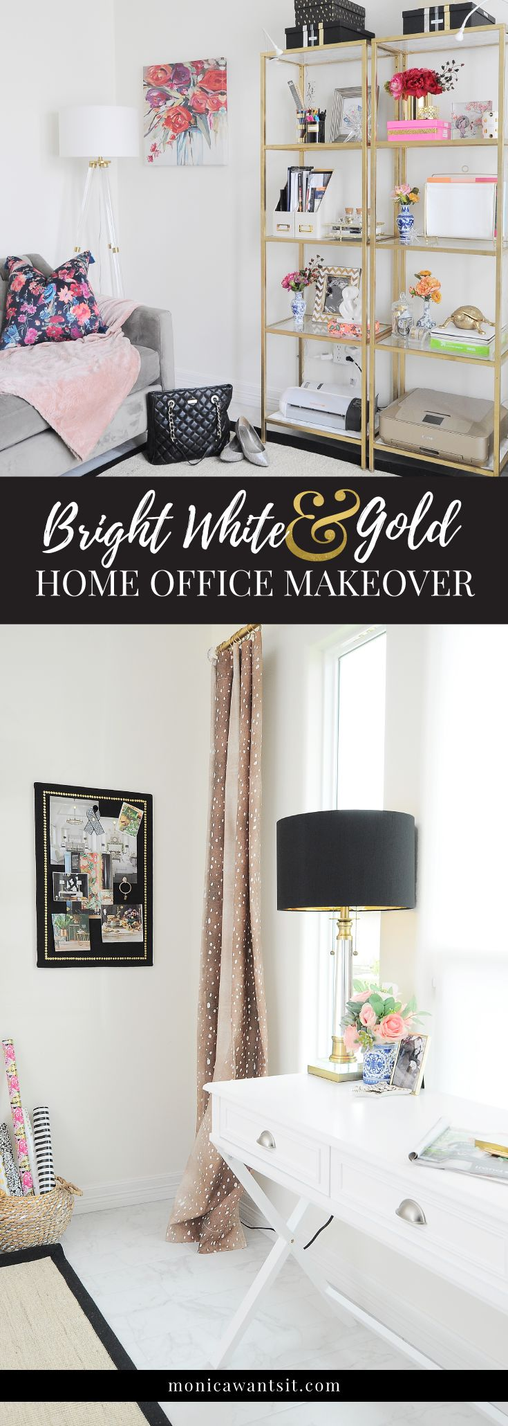 A bright white and gold home office