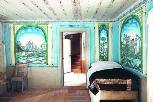 Painted cottages in Sweden. Zdobione domy wiejskie w Hälsingland (Szwecja). Siedem