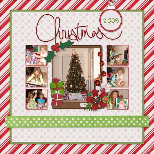 Christmas Page!  I love the idea of this.  Presents being opened around the tree.  The layout doesn't take away from the pictures at all.  Could also put decorating the tree pictures around it.  Great idea.