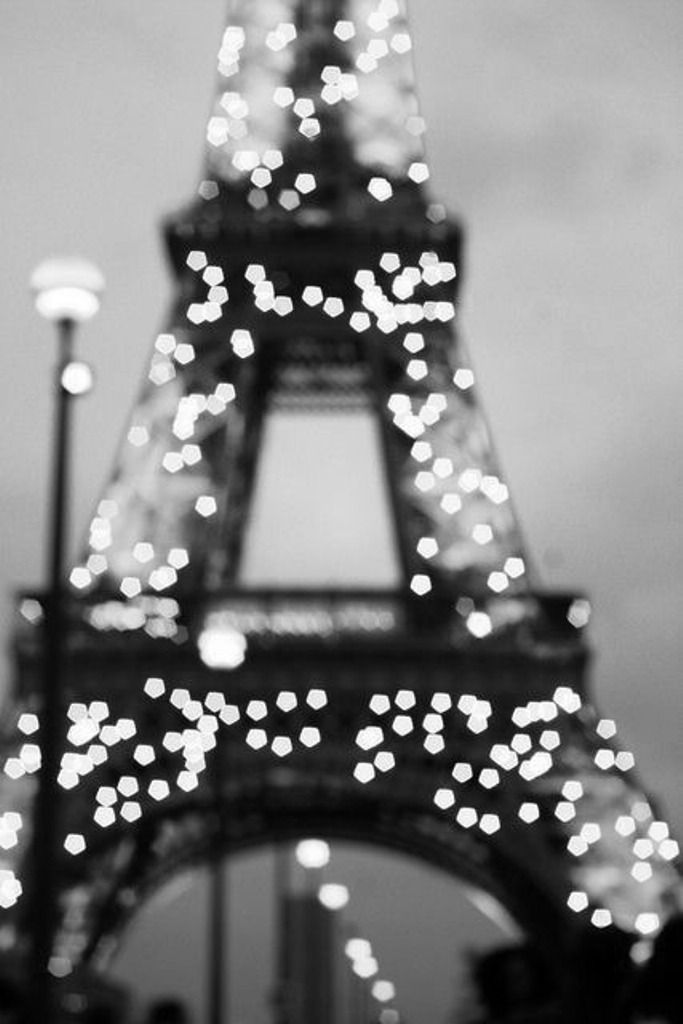 Eiffel Tower, bright & waiting for 2016 in a black & white landscape.