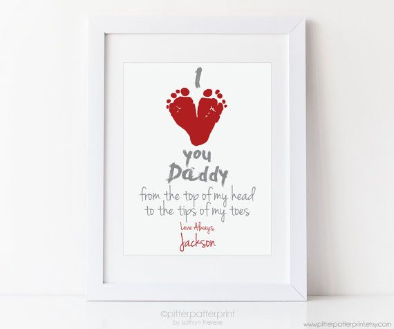 Dad Valentine's Day Baby Footprint Art, I Love You New Daddy Gift, Red Heart, First Valentines Day, Your Child's Foot Prints, 8x10