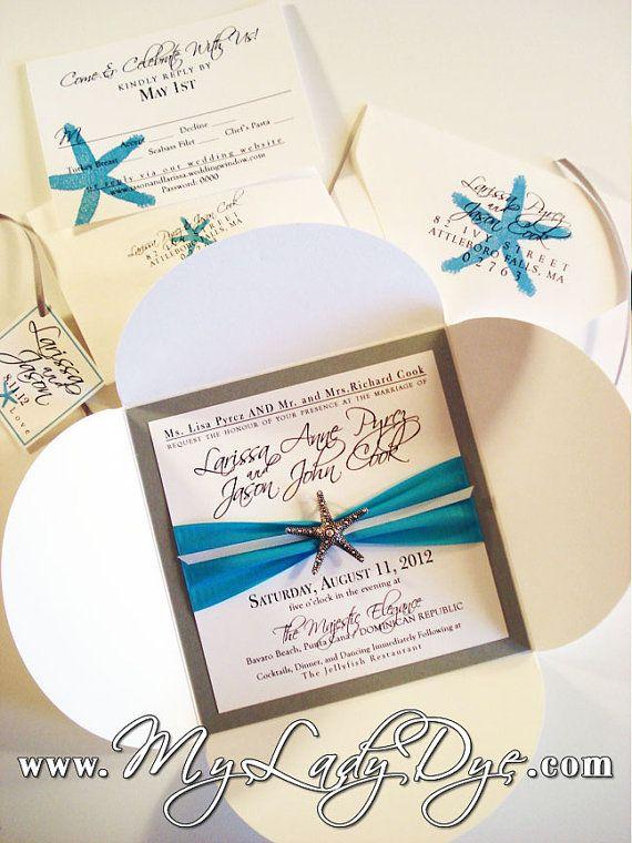 Elegant Modern Starfish Embellished Petalfold Wedding by MyLadyDye, $13.99