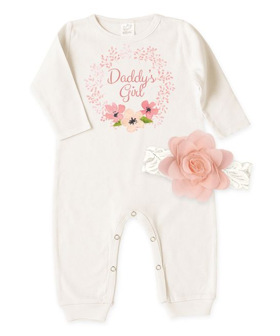Ivory 'Daddy's Girl' Playsuit & Lace Headband - Infant