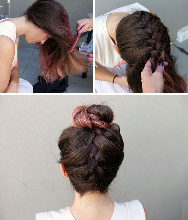 Definitely trying this...I either braid my hair or put it in a bun most days anyway. French Braid Top Knot | 28 DIY Hairstyles