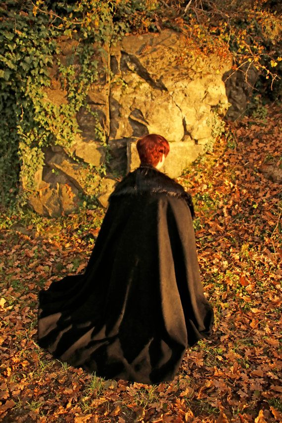MADE TO ORDER  Black cloak wool faux fur viking by RavenThreadsLab