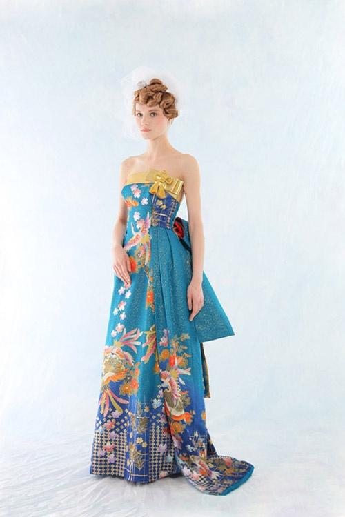和ドレス 着物ドレス 青色のスレンダーライン