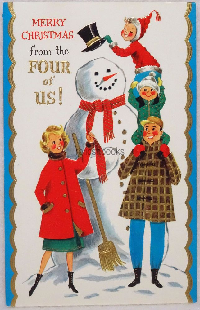 48 60s Topping Off the Snowman! Vintage Christmas Card-Greeting ...